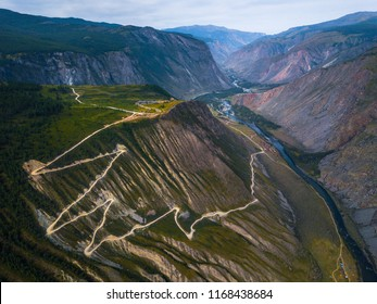 Aerial view of the Katu Yaryk pass and valley of the river of Chulyshman, Altai Republic, Russia.