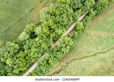 aerial view of Katy Trail near Pilot Grove, Missouri - 237 mile bike trail stretching across most of the state of Missouri converted from abandoned railroad