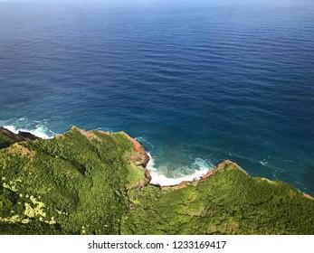 Aerial view of the Kauai coastline and Pacific Ocean, Hawaii