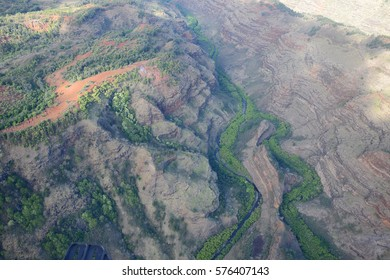 aerial view of kauai landscape from helicopter