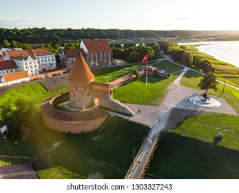 Aerial view of Kaunas castle, originally built during the mid-14th century, situated in Kaunas, Lithuania