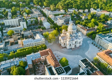 Aerial view of Kaunas city center. Kaunas is the second-largest city in country and has historically been a leading centre of economic, academic, and cultural