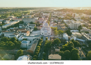 Aerial view of Kaunas city center. Kaunas is the second-largest city in Lithuania and has historically been a leading centre of economic, academic, and cultural life