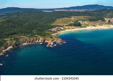 Aerial view of Kavatsite - sand dunes near town of Sozopol , Burgas Region, Bulgaria