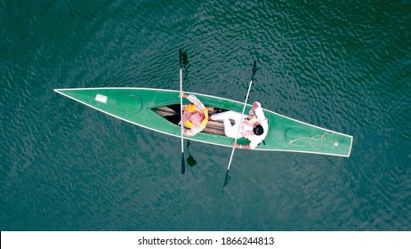 Aerial view of a kayak in a lake