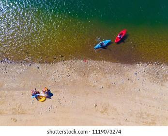 Aerial View of kayaks over lake