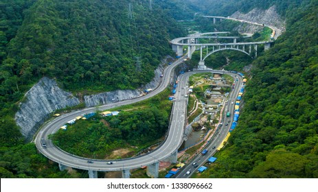 An aerial View of Kelok 9 bridge, West Sumatra