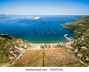 Aerial  view of Keri city in  Zante (zakynthos) island, in Greece