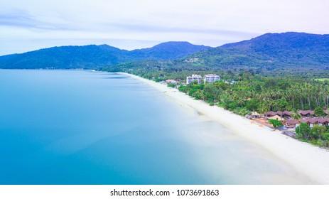 Aerial view of Khanom beach, Khanom, Nakhon Si Thammarat Thailand