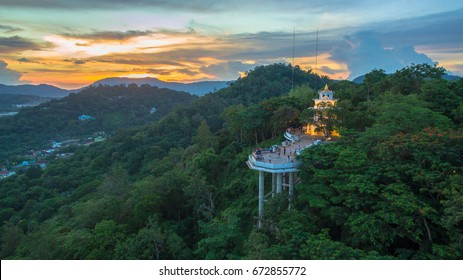 aerial view Khao Rung the landmark viewpoint of Phuket place in the middle of Phuket town Khao Rang viewpoint on hill top in the middle of Phuket town on hill top can see around Phuket city