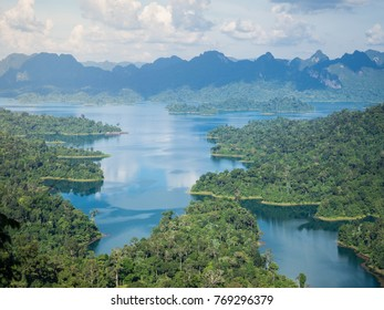 Aerial view of Khao Sok National Park or Ratchaprapha Dam