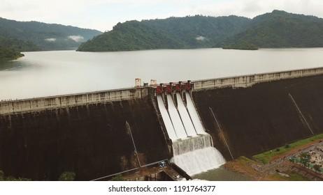 Aerial View of Khun Dan Prakan Chon Dam in Nakhon Nayok,Thailand