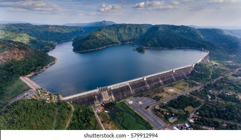 Aerial view of Khun Dan Prakan Chon in Thailand, largest and longest roller compacted concrete (RCC) dam in the world