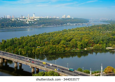 Aerial view of Kiev with Dnipro river and Kiev Pechersk Lavra on the top of the hill. Ukraine