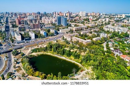 Aerial view of Kiev with residential buildings and Hlinka Lake. Ukraine