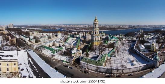 aerial view of Kiev-Pechersk Lavra at winter