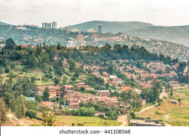 Aerial view of the Kigali, the capita city of Rwanda, from the hills on the outskirt of the city