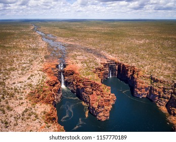An aerial view of King George Falls in the Kimberley region of Western Australia.