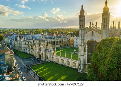 Aerial view of Kings College with sun flare at sunset in Cambridge,UK