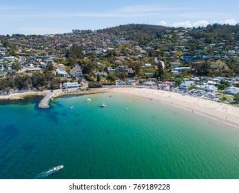 An aerial view of a Kingston Beach in Hobart, Tasmania, Australia