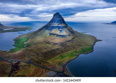 Aerial view of Kirkjufell mountain, Iceland by drone
