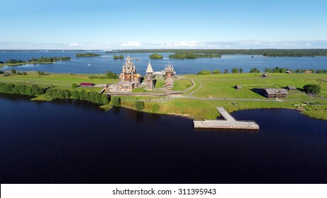 Aerial view of Kizhi island with old russian wooden architecture in Karelia