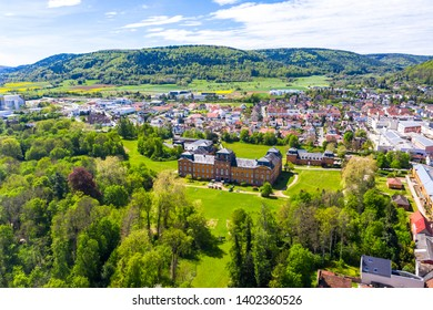 Aerial view, view of Kleinheubach and Großheubach with castle Löwenstein, Miltenberg am Main, Lower Franconia, Bavaria, Germany