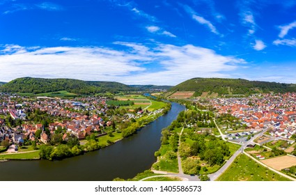 Aerial view, view of Kleinheubach and Großheubach, Miltenberg am Main, Lower Franconia, Bavaria, Germany