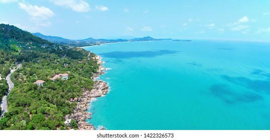 Aerial view of Ko Samui shore and Gulf of Thailand
