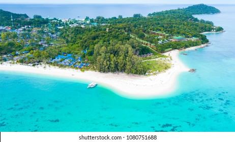 Aerial view of Koh Lipe or Lipe Island in Satun,Thailand with turquoise water and white sand beach