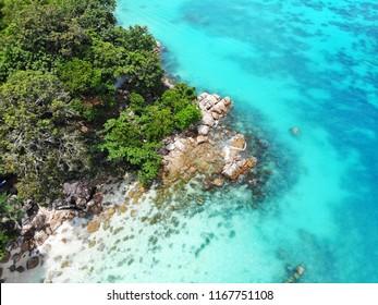 Aerial view at Koh Lipe, Lipe Island, Tarutao National Marine Park, Satun Province, Thailand.