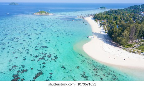 Aerial view of Koh Lipe, the tropical island in Satun,Thailand with a turquoise water and white beach