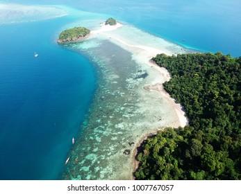 Aerial view of Koh Tup island in Krabi in Thailand.