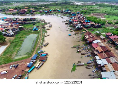Aerial view of Kompong Khleang village on Tonle Sap Lake in Cambodia just before the start of the rainy season