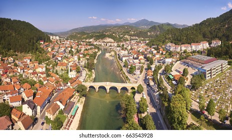 Aerial view of Konjic town - Bosnia and Herzegovina