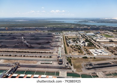 An aerial view of Kooragang Island in Newcastle. Coal exporting is big business make Newcastle one of the largest coal export ports in the world