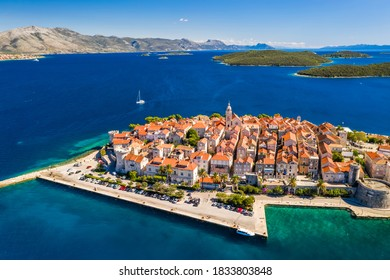Aerial view of Korcula old town on Korcula island, Croatia.