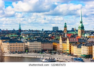 Aerial view of Kornhamnstorg, Gamla Stan, Old Town, Stockholm, Sweden, Europe