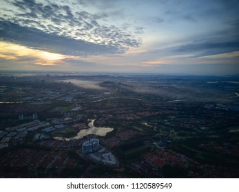 Aerial view of Kota Kemuning, Malaysia during sunrise by Drone.