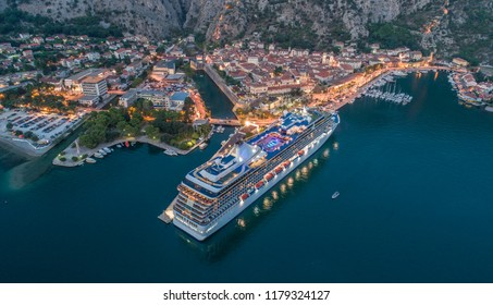 Aerial View Of Kotor old town with cruiser