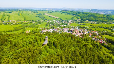 Aerial view of Krizova hora with church and stations of the Cross in Jiretin pod Jedlovou, Luzicke hory, Czech republic, European union.