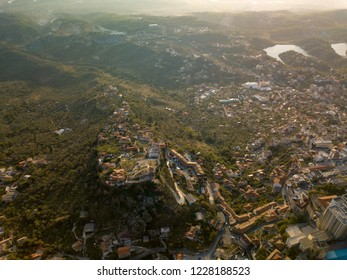 Aerial view of Kruja/Kruje, Albania. Also known as the city of Skanderbeg and an important city for Albanian history