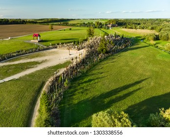 Aerial view of Kryziu kalnas, or the Hill of Crosses, a site of pilgrimage near the city of Siauliai, in northern Lithuania. Sunny summer evening.