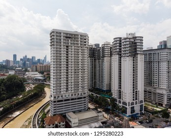 Aerial view of Kuala Lumpur Sentral district with many modern condominium tower in the heart of Malaysia capital city