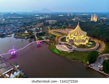 Aerial view of Kuching city waterfront, Sarawak Malaysia - Shutterstock ID 1161272326