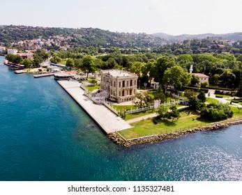 Aerial View of Kucuksu Palace in Beykoz, Istanbul City, Turkey