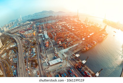 Aerial view of Kwai Tsing container terminals Hong Kong, China