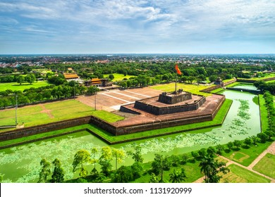 """Aerial view of """" Ky Dai """" or flag pole  in the Hue Citadel, Vietnam. Imperial Palace moat,Emperor palace complex, Hue Province, Vietnam. - Shutterstock ID 1131920999"""