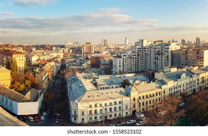 Aerial view of Kyiv city, center district, Ukraine. Panoramic cityscape.