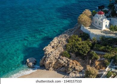 Aerial view of Kyra Panagia beach in Karpathos island,Greece